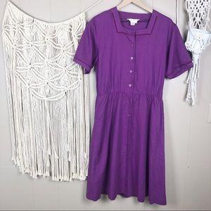 Vintage purple button up midi dress size 10